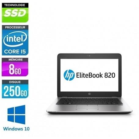 Elitebook 820 G3 Core i5 8Go Ram 256Go SSD LED 12.5'' Poids 1.5Kg Windows 10 Pro 64Bits GARANTIE 2 ANS